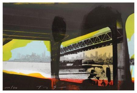 Lithograph Soulie - Under a Bridge