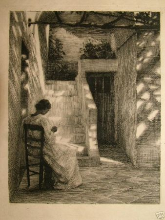Etching Ilsted - Under the wineleaves