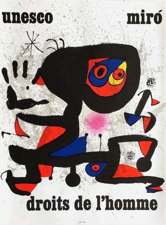Poster Miró - UNESCO - DROITS DE L'HOMME -MIRO. Affiche originale de 1974.