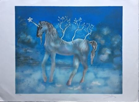 Lithograph Dali - Unicorn