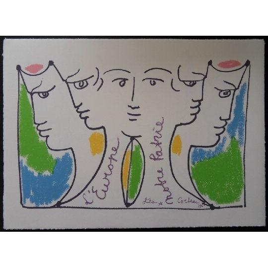 Lithograph Cocteau - Union Européenne