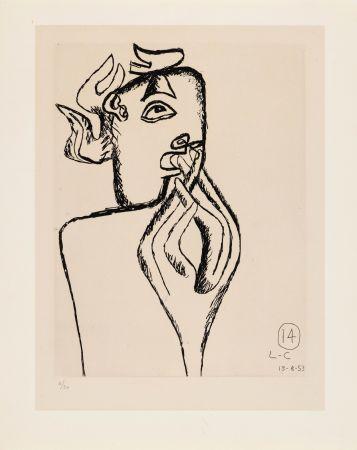 Engraving Le Corbusier - Unité. Planche 14