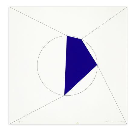 Screenprint Alviani - Uno. Due. Tre. Quattro. poligono regolare a lati progressivi iscritto nel cerchio, 1978/1993