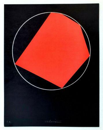 Lithograph Alviani - Unoduetrequattrocinquesei poligono inscritto nel cerchio