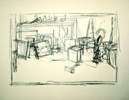 Lithograph Giacometti - Untitled