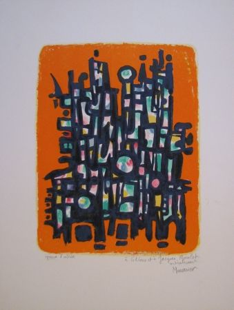 Lithograph Manessier - Untitled