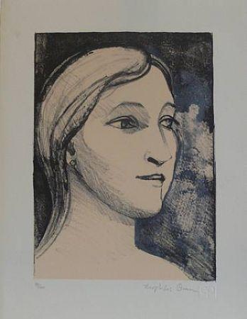 Lithograph Brown - Untitled-(Portrait)