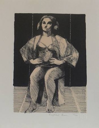 Lithograph Brown - Untitled-(Seated Portrait)