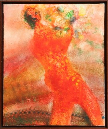 Lithograph Ripolles - Untitled - Figure with Flowers