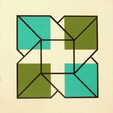 Lithograph Engel - Untitled (Blue and Green)