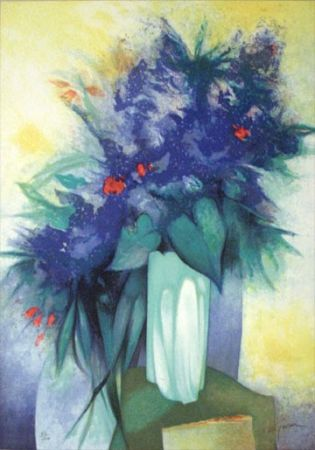 Lithograph Gaveau - Untitled (Blue Flowers)