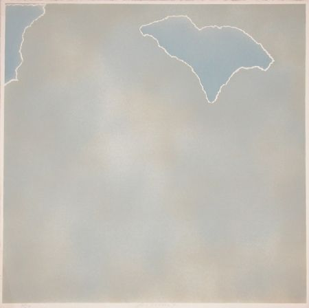 Lithograph Goode - Untitled (blue paper clouds)