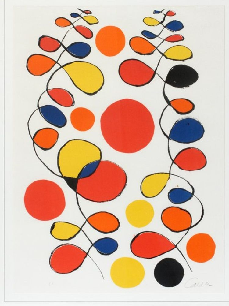 Lithograph Calder - Untitled (Composition With Spirals And Circles)
