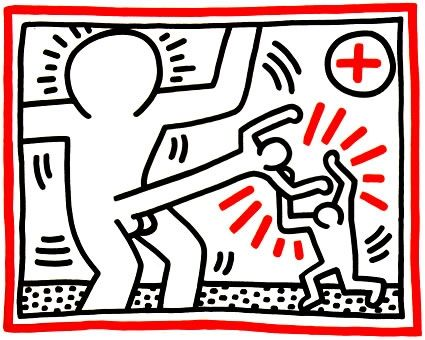 Lithograph Haring - Untitled from Three Lithographs #1