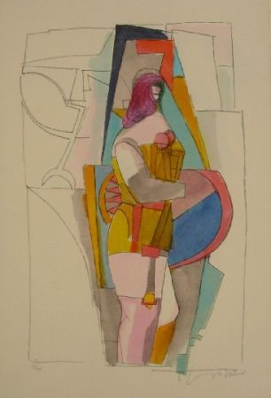 Lithograph Lindner - Untitled II