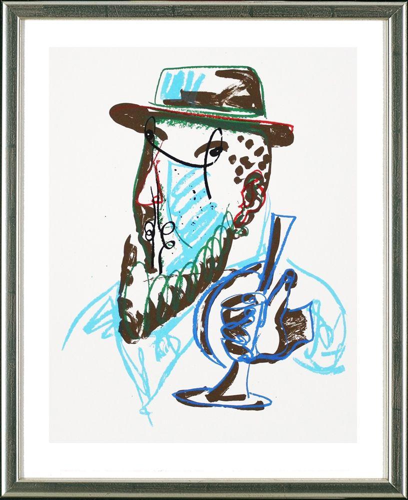 Screenprint Lüpertz - Untitled, Mann mit blauer Trompeter