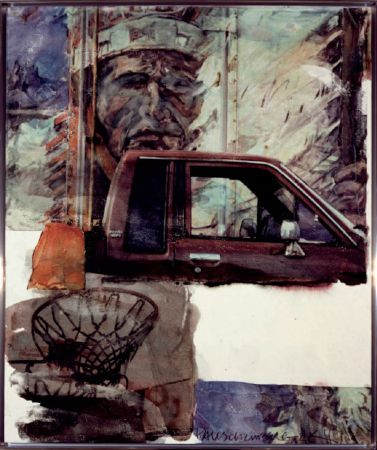 No Technical Rauschenberg - Untitled (Native American with Truck)