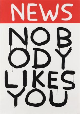 Screenprint Shrigley - Untitled (News: Nobody Likes You)
