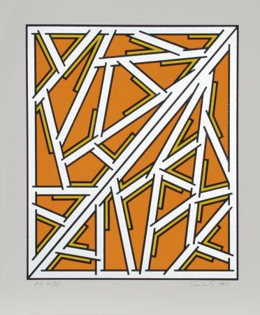 Screenprint Krushenick - Untitled (Orange One Variant)