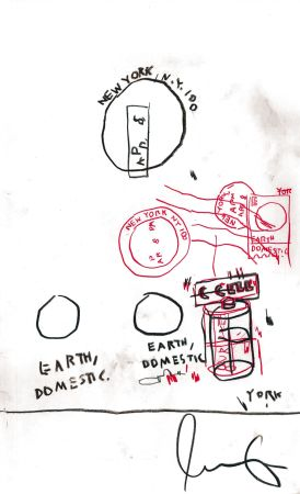 No Technical Basquiat - Untitled Original Crayon Drawing On Paper,