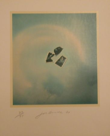 Lithograph Goode - Untitled (photo pieces on blue background)