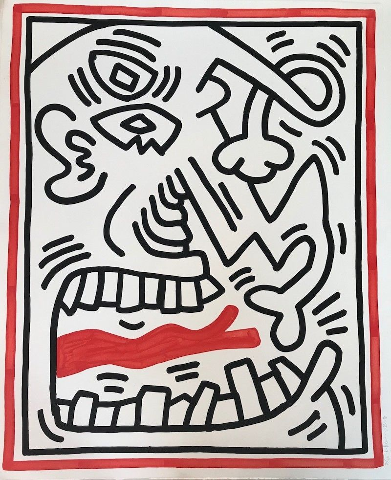 Lithograph Haring - Untitled (Red Tongue)