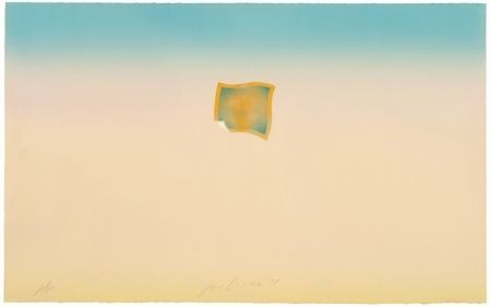Lithograph Goode - Untitled (small orange photo on peach and blue background)