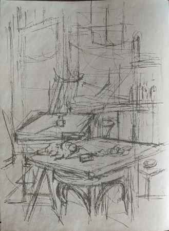 Lithograph Giacometti - Untitled (tables in studio)