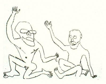 Etching Calder - Uomini nudi