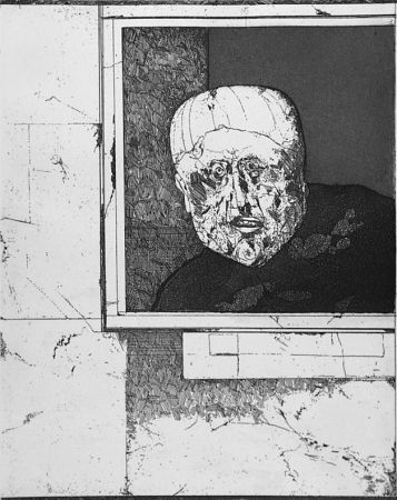 Engraving Plattner - Uomo alla finestra