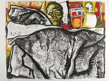 Lithograph Guttuso - Uomo con giornale / Man with Newspaper