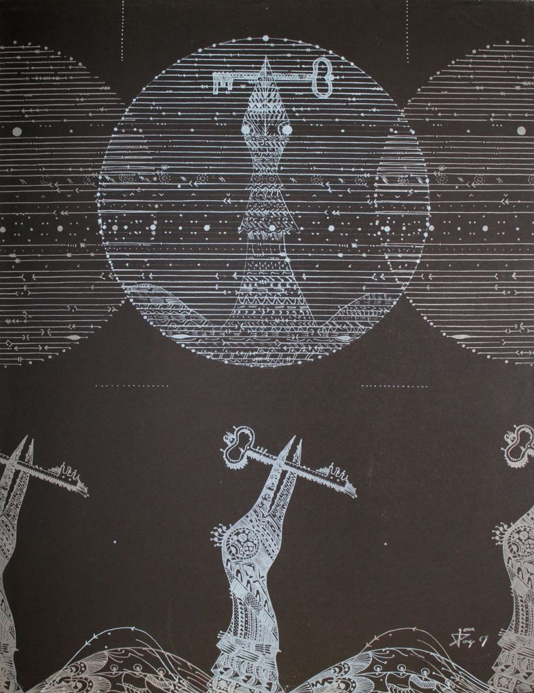 Lithograph Ponc - Vögel und Schlüssel (Birds and Key)