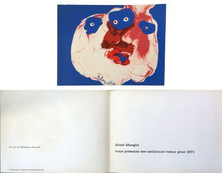 Lithograph Rebeyrolle - Vœux d'Aimé Maeght pour 1971 : LITHOGRAPHIE ORIGINALE DE REBEYROLLE