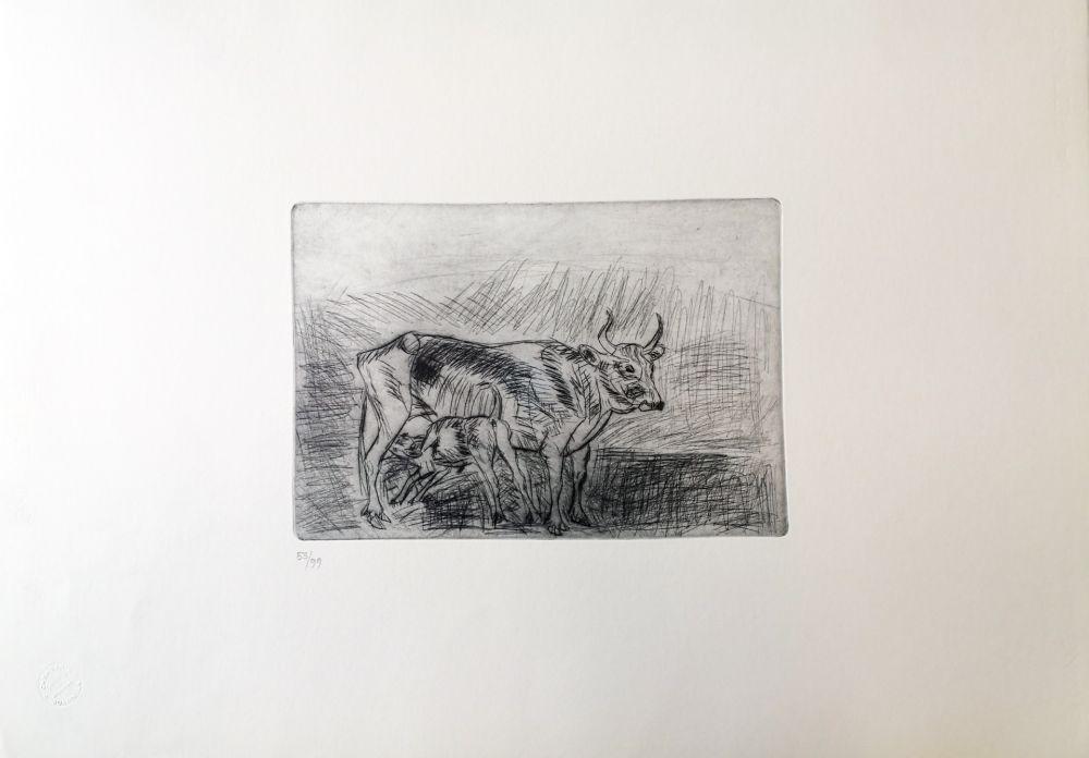 Drypoint Ligabue - Vaccarella con vitello