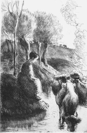 Engraving Pissarro - Vachère au bord de l'eau