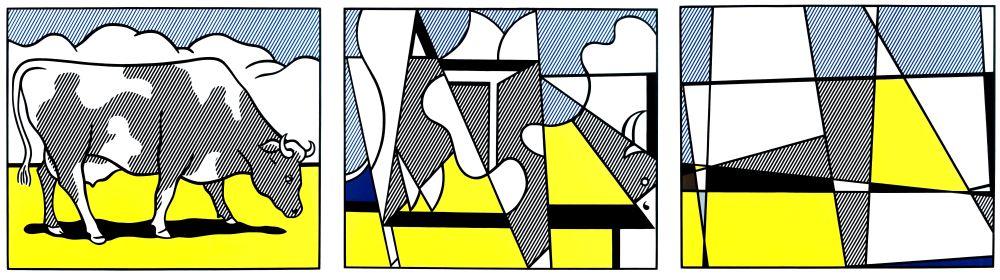 Lithograph Lichtenstein - Vaches