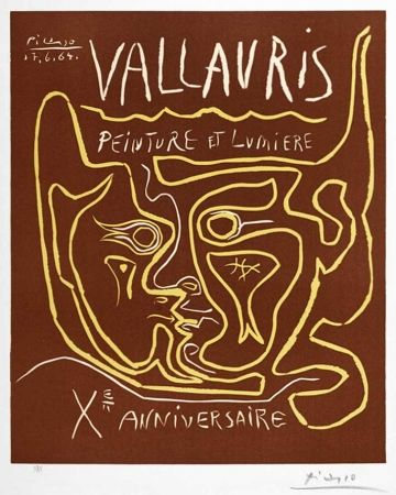 Linocut Picasso - Vallauris Peinture et Lumière, Xᵉ Anniversaire (Vallauris Painting and Light, Tenth Anniversary), 1964