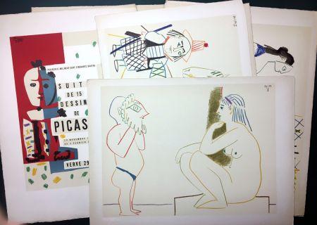 Lithograph Picasso - Vallauris, suite de 180 (15) dessins de Picasso. RARISSIME SUITE COMPLÈTE SUR VÉLIN D'ARCHES.