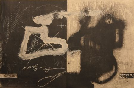 Lithograph Tapies - Variations 13