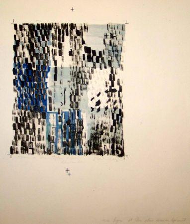 Lithograph Vieira Da Silva - Variations bleu
