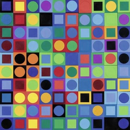 Lithograph Vasarely - Vasarely Planetary Folklore Participations N° 1
