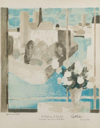 Lithograph Cathelin - Vase à la fenêtre