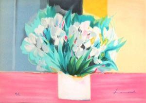 Lithograph Hemeret  - Vase aux iris