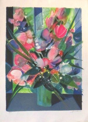 Lithograph Hilaire - Vase de tulipes