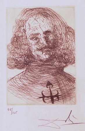 Etching Dali - Velazquez, from Five Spanish Immortals Series
