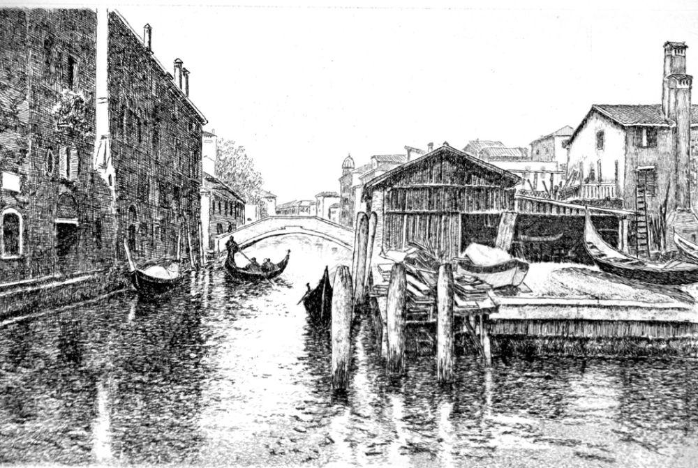 Engraving Cotugno  - Venezia, squero di San Trovaso