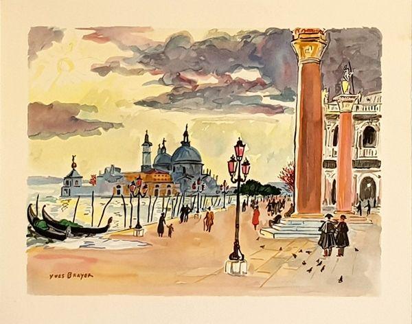 Lithograph Brayer - Venise