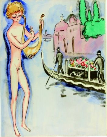 Pochoir Van Dongen - Venise- Boy with harp