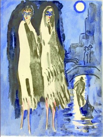 Pochoir Van Dongen - Venise- Two Woman at night