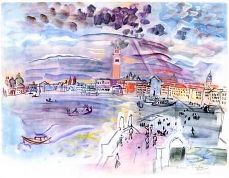 Lithograph Dufy - Venise- Two Woman at night